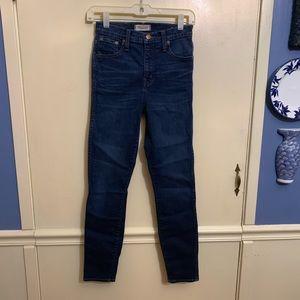 Madewell High Riser Skinny Jeans Medium Wash Sz 25